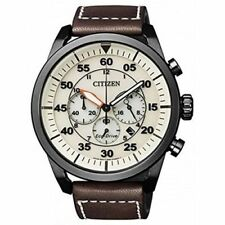CRONOGRAFO CITIZEN AVIATOR OROLOGIO CHRONO UOMO PELLE BROWN DATA CA4215-04W