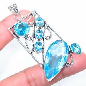 "Blue Topaz Gemstone Handmade Ethnic Silver Jewelry Pendant 2.7"" PLG1812"