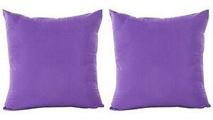 "2 Pcs 18"" Square Cushion Covers Purple Plain Fabric Pillows Case Indian Cotton"