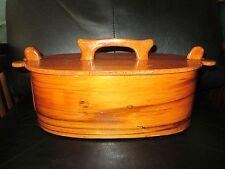 Antique Vintage Rare Wood Swedish Tina Box Felt Lined Oval Snap Lid Scandinavian