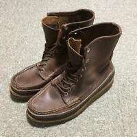 W.C.Russell Moccasin Co Lace Up Brown Leather Boots Shoes VTG Mens Sz 4.5 E Used