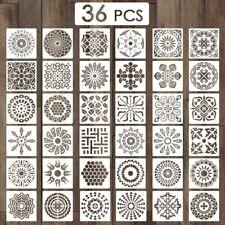 36 Pcs 15cmx15cm Mandala Stencils Flexible Reusable Painting Fabric Wood Wall