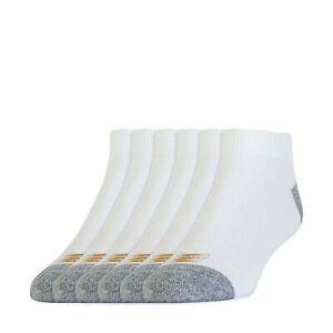 PowerSox Allsport Cotton Low Cut Socks, 6 Pairs Shoe Size: 9-12.5 White