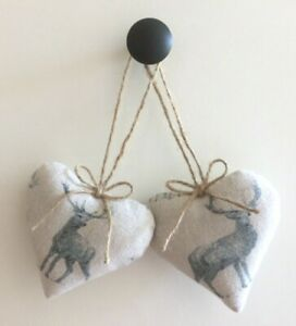 Pair Heart Door Hangers Linen Grey Stags