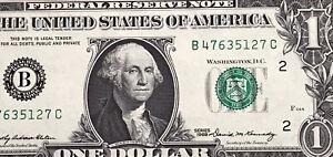 1969 $1 DOLLAR BILL ( New York B ) UNCIRCULATED
