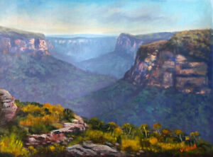 Original oil painting -Early morning at Butterbox point, Mt Hay- by Vidal
