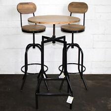 3pc Bistro Set Bar Table & Stools Round Height Adjustable Breakfast Kitchen Pub