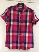 Mens Fly 53 Shirt Size M Medium Short Sleeve Checked Cotton