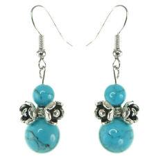 Boucles D'oreilles Argentées Petites fleurs Argent Tibetain Perles Pierre bleu