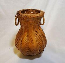 Vintage Handwoven Two Handle Wicker Basket Urn