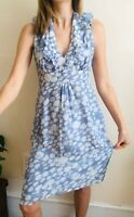 Beautiful Jigsaw 100% Silk Dress Size 10 Knee Lenght Blue White Abstract