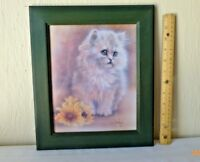 Vintage Persian Cat Kitten Wall Art Print Signed 1996 Collectible Art Work Print