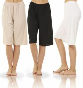 Ladies Seconds Plain Anti Cling Cooling Underskirt Waist Culotte Slip