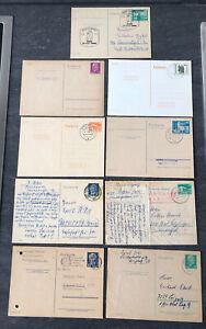 DDR Lot/Konvolut 9 alte Postkarten/Ganzsachen meist gestempelt und gelaufen