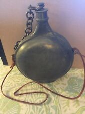 Antique Pewter Canteen Flask Punch Decoration Lid W/ Chain