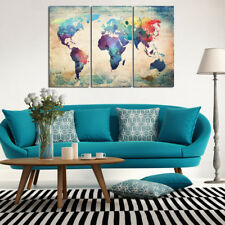 Modern Unframed Map Oil Painting Canvas Print Wall Art Pictures Home Decor