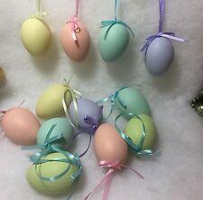 Dozen Pastel Easter Eggs W/ Ribbon Hanger Ornaments / Decor