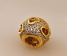 Authentic Pandora ALE Tumbling Hearts Bead Charm in 14k Yellow Gold