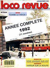 LOCO REVUE - Année complète 1992 - n° 544 à 554 (Chemin de fer miniature, train)