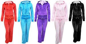 New Ladies Women Full Tracksuit Hoodie Trousers Velour