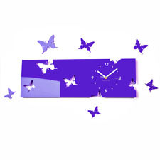 Modern Purple Butterflies Large DIY Wall Clock Home Decor Living Room Bedroom