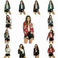 Women's Classic Bomber Jacket Coat Clothes Outwear Zip Up Windbreaker Overcoat