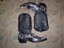 Laredo Monty Men US 12 D Black and White Western Coboy Snakeskin print Boot