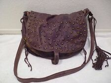 Moni Moni Studded Gypsy Bag Leather Shoulder Cross-Body Carry All Handbag Brown