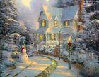 Christmas Lighted House And Snowman14 X 11 print