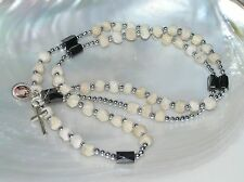 Estate Faceted Hematite Tiny Silvertone Spacer & Cream Resin Bead Rosary or Othe