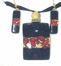 Glass Necklace Earrings Jewelry Set 4Mg Black Red Gold Authentic Venetian Murano