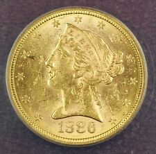 1886-S 5 Dollar $5 Liberty Head Gold Coin ANACS MS-61 (Better Coin)
