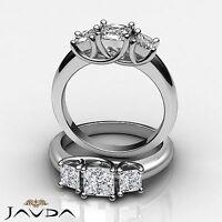 Three Stone Princess Cut Diamond Engagement Ring GIA F VS2 14k White Gold 1.8 ct