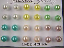Faux Pearl stud earrings plastic set pack of 12 pair ball post 1/4 inch 7mm wide