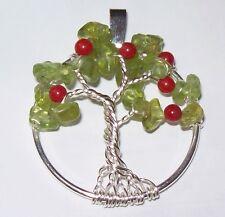 Peridot Apple Tree of Life Pendant Necklace Wrap Silver Gemstone Teacher Gift