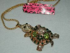 Betsey Johnson pendant turtle tortoise unique movable legs green crystals Nwt