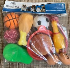 Small Dog Toy Pack Set Gift Of 10 With Bonus Collapsible Bowl By GloBal Pet | Pe