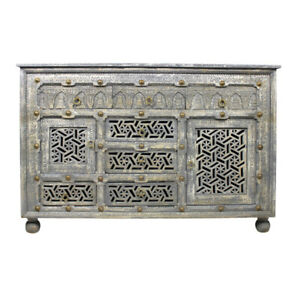 "58"" L Sideboard Hand Finished Grey Carved Solid Mango Wood with Brass Accents"
