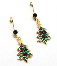 Christmas Tree pierced earrings Rhinestone enamel red green Xmas New ornaments