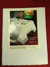 VINTAGE ELEGANCE LACE TRIM BANQUET SIZE TABLECLOTH 60X102 WHITE UNUSED NOS