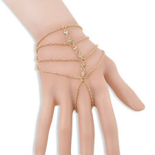 BOHO Rhinestone Chain Tassel Gold Bracelet Bangle Slave Ring Hand Harness Decor