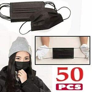 UK 50X Black Face Mask Protective Covering Mouth Masks Washable Reusable UK