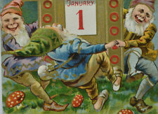 1910/1911 Embossed New Year Postcard- Gnomes/Elves Dance/Mushrooms/Calendar P11