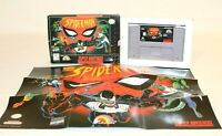 Spider-Man SNES Super Nintendo AUTHENTIC & Tested w/ BOX, Tray, & POSTER! NICE!