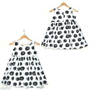 Formal Party Girl Dress Black Spot on White Sleeveless Casual Summer Mini Skater