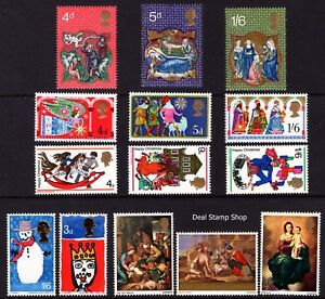 1966 - 1970 Christmas Pack, 5 Different Complete Sets (14 Stamps) Unmounted Mint