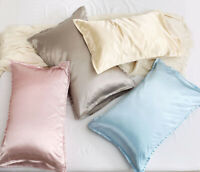 2 Pack  Memory Satin Silk Pillowcase for Hair and Skin Standard Smooth Cooling
