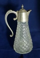 Beautiful Vintage Heavy Decanter With Silver Plated Handle