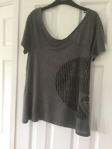 Roxy Ladies Grey Scoop Back Viscose/Linen T Shirt Size M