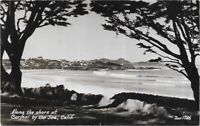 Posted 1938 Along The Shore at Carmel by The Sea, Calif Postcard